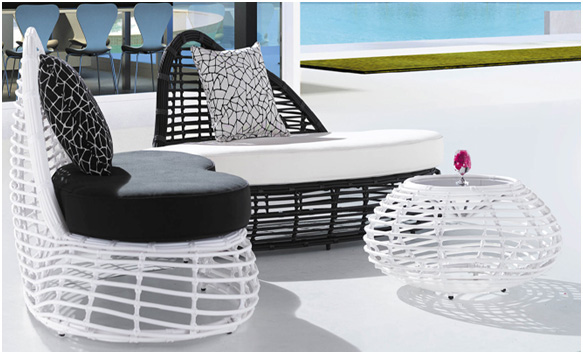 Wicker Outdoor Patio Furniture Day Bed