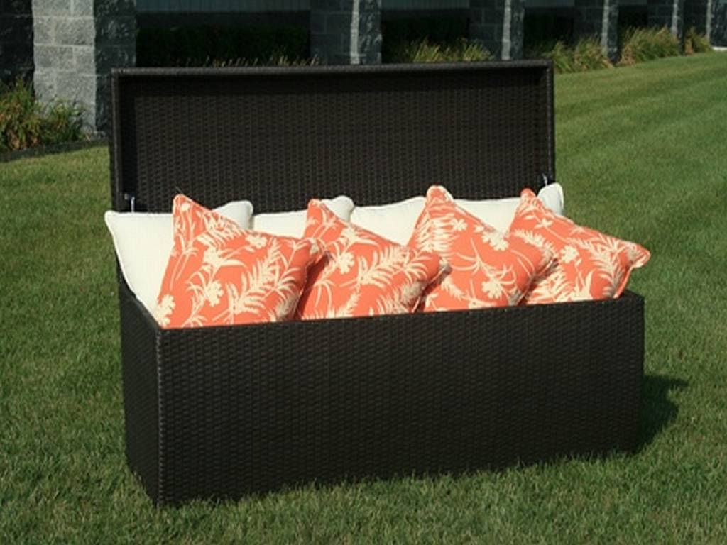 outdoor wicker storage box for patio furniture cushions